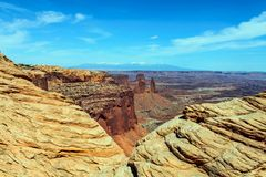 Arches National Park looking through two ledges stock image