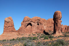 Arches National Park. Male organ roky near Turret Arch in Arches National Park stock photos