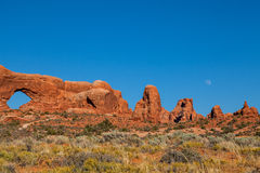 Arches National park Moonrise Stock Images