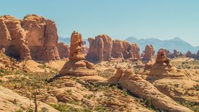 Rock Formations at Arches National Park in Utah. Arches National Park near Moab, Utah is red rock country. It has over 2000 natural stone arches and numerous stock images