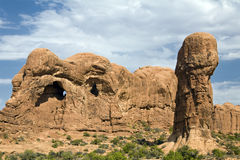 Arches National Park Pestle Formation. Sandstone and shale formations take on bizarre shapes in Arches National Park Royalty Free Stock Images