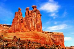 Arches National Park, Utah. The Three Gossips red rocks - Arches National Park, Utah. United States Royalty Free Stock Image