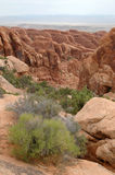 Arches National Park rocks. View of rock formations located in Arches National Park, Utah (USA royalty free stock photos