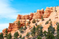 Arches National Park, Rocks Red Desert Mountain Landscape. Red Rocks and Pine Trees at Arches National Park, Moab, Utah, Landscape with Blue Sky royalty free stock photos