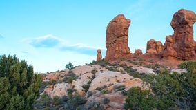 Arches National Park, Rocks Red Desert Mountain Landscape. Red Rocks and Pine Trees at Arches National Park, Moab, Utah, Landscape with Blue Sky stock photography