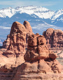 Arches National Park - Scenic Beauty of Utah. A view of the LaSalle Mountains from the park near Devils Garden Stock Images