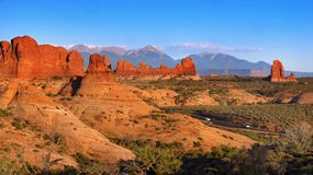 Arches National Park, Scenic Desert Landscape, Utah USA. Arches National Park - Scenic desert landscape, red cliffs, arches and windows. Utah, Southwest USA royalty free stock photos
