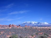 Arches National park with snow Royalty Free Stock Photo