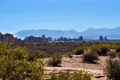 View of Arches National Park stock photos