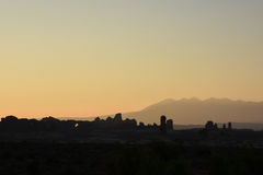 Arches National Park Sunrise Silhouette Stock Image
