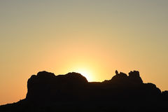 Arches National Park Sunrise Silhouette View Stock Photos