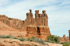 Arches National Park, The Three Gospis. Arches National Park, Courthouse area, The Three Gospis Stock Photography