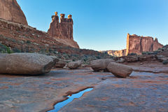 Arches National Park, trail in a wash Royalty Free Stock Photos