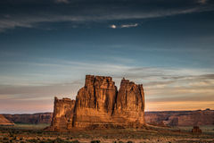Arches National Park, Utah. The Courthouse Towers at Arches National Park, Utah at sunrise in July Stock Photos
