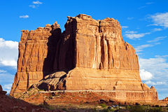 "Arches National Park, Utah. Evening view of impressive formation called ""The Organ"" in the Courthouse Towers area, Arches National Park, Utah royalty free stock photos"