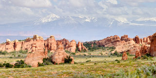 Arches National Park, Utah, USA. Panorama of Arches National Park with Rocky Mountains on the background, Utah, USA Royalty Free Stock Photography