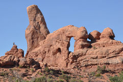 Arches National Park; Utah; Usa;. View of an arch and a monolith in the Arches National Park; Utah; Usa Royalty Free Stock Photography