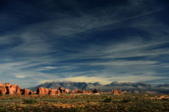 Arches National Park Vista, Utah, USA. The red rocks of Arches National Park come alive in the setting sun, under a deep cobalt sky Royalty Free Stock Images