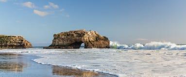 Panorama of Natural Bridges State Beach royalty free stock photo