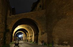 Arches at night in Rome Royalty Free Stock Photography