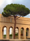 Arches and the pine tree. A wonderful image of a pine tree and beneath a porch in Rome Stock Photo
