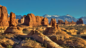 Arches Pinnacles. Pinnacles, desert and rocks in Arches National Park, Utah Royalty Free Stock Photos