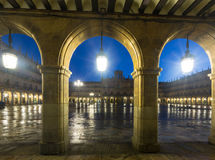 Arches  at Plaza Mayor at Salamanca in evening Royalty Free Stock Image