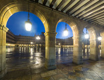 Arches  at Plaza Mayor at Salamanca in evening Royalty Free Stock Images