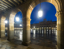 Arches  at Plaza Mayor at Salamanca in nigh Stock Images
