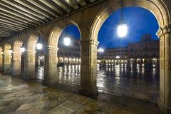 Arches  at Plaza Mayor at Salamanca in night Stock Photos