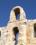 Arches of the roman theater under Acropolis Stock Image