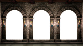 Arches and shining torches. Stone collums and arches with shining torches Stock Photo