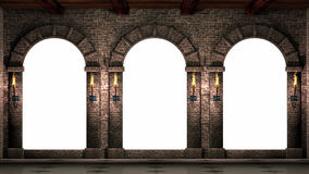 Arches with shining torches stock video footage