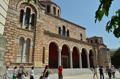 Arches And Soportal Of The Lateral Facade Of The Orthodox Church Of San Nicolas. Architecture History Travel. July 4, 2018. Volos. Magnesia. Greece stock photography