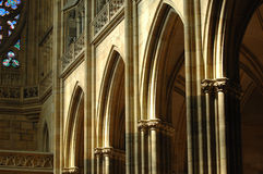 Arches in St. Vitus Cathedral Prague Stock Photo