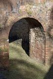 Arches and stair support pillars built in apparent brick Royalty Free Stock Photo