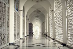 Arches and Stars. The beautiful corridor of the Sultan Salahuddin Abdul Aziz Mosque in Shah Alam, Malaysia stock photography