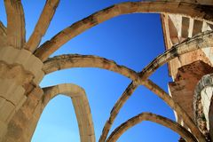 Arches structure of ancient Monastery in Spain Royalty Free Stock Images