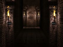 Arches with torches background. Medieval arches with torches background.3d illustration Royalty Free Stock Photos