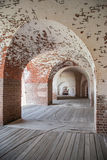Arches in a U.S. Civil War Era Fort. Aged brick arches around the perimeter of the remnants of a southern fort from the Civil War era royalty free stock images