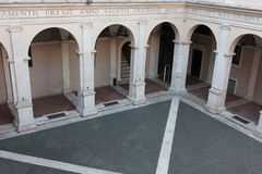 Arches viewed from above in Chiostro del Bramante, Rome. Chiostro del Bramante in Rome, Italy Stock Photo