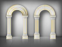 Free Arches With Columns In Wall White Gold Pillars Stock Photos - 199230103
