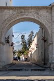 The Arches of Yanahuara Plaza and Misti Volcano on Background - Arequipa, Peru. The Arches of Yanahuara Plaza and Misti Volcano on Background - written on the stock image