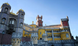 The Arches Yard, chapel and clock tower of Pena National Palace, Sintra, Portugal. royalty free stock image