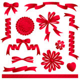 Archi del nastro, bandiere, ecc. rossi. Fotografie Stock