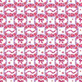 Archi dell'acquerello, nastri rosa disegnati a mano isolati, modello senza cuciture, illustrazione di verniciatura decorativa per illustrazione di stock