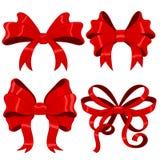 Archi rossi del nastro Elemento serico di progettazione 3d Fotografia Stock Libera da Diritti