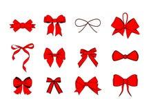 Archi rossi del nastro messi Accumulazione degli elementi di disegno Illustrazione di vettore su bianco Fotografia Stock
