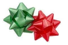Archi rossi e verdi del regalo di festa Fotografia Stock Libera da Diritti
