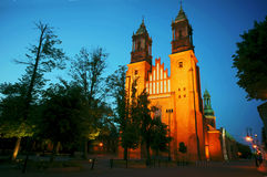 Archicathedral Basilica in Poznan by night Royalty Free Stock Images